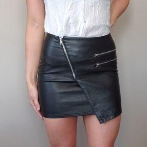 Divided Faux Leather Mini Skirt Zipper Detail
